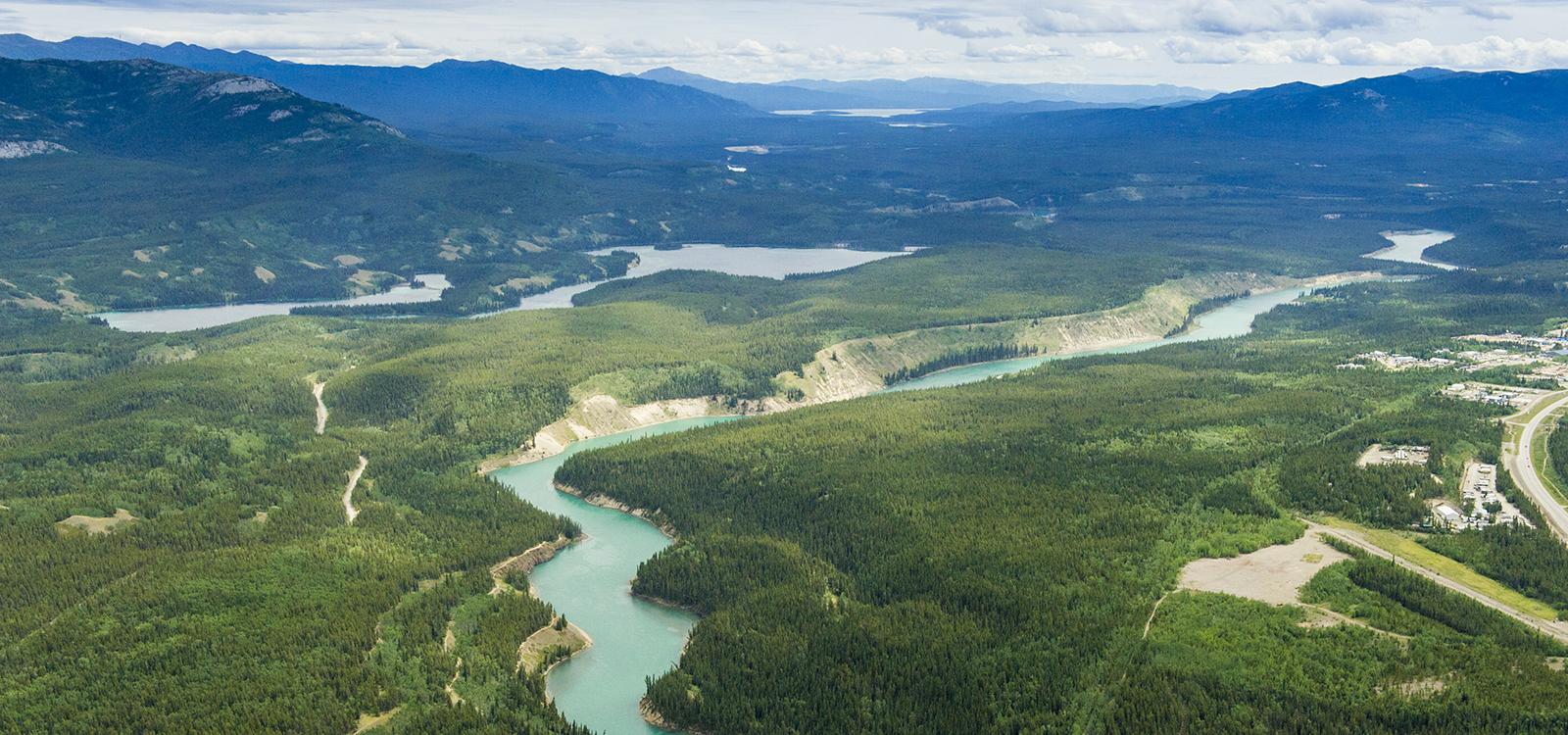 Aerial of Yukon River near Whitehorse