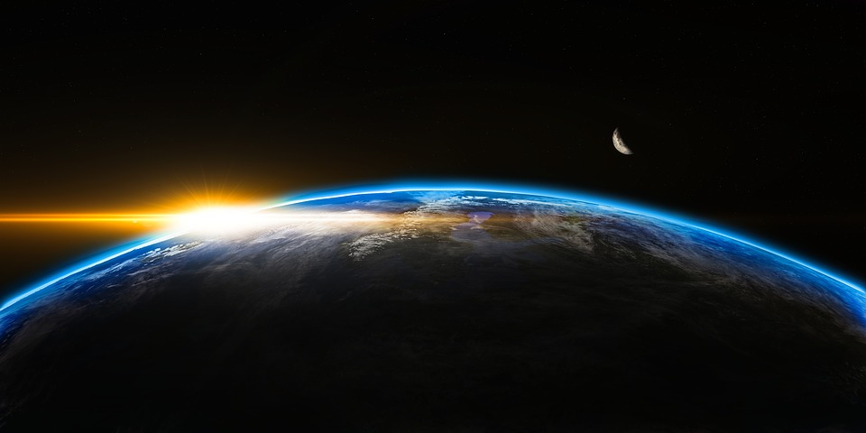 Earth sunrise outer space