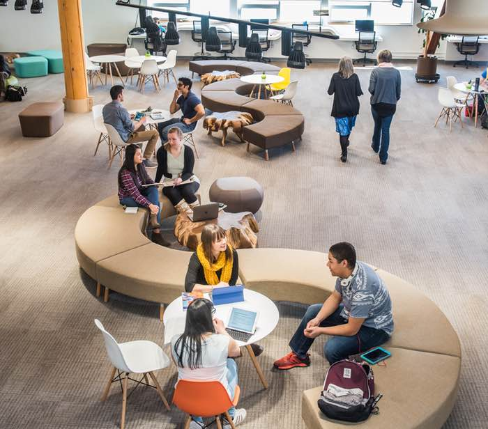 Students studying in the Innovation Commons