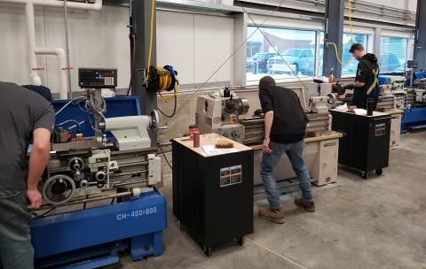 Students at Lathe