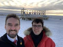 Dr. Michael Ross and Simon Geoffroy-Gagnon in Arviat, Nunavut